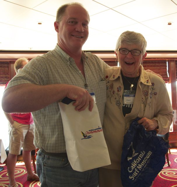 Gert and Steve picked each other's secret grab bag gifts in the cruisecritic.com meetup