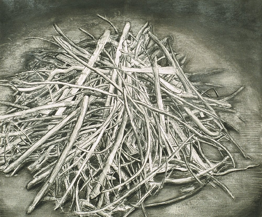"Stick Pile 3, 40"" x 50"", charcoal on paper, 1994"