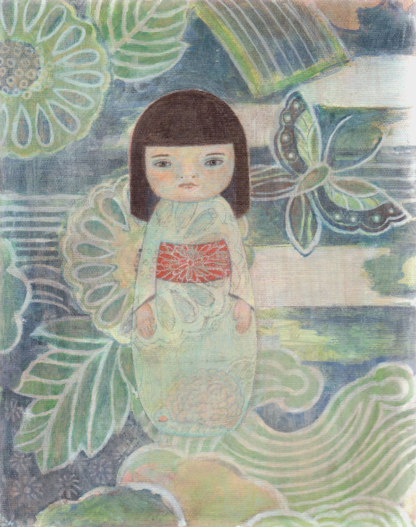 "Bewildered Kokeshi, 8"" x 10"", acrylic on canvas, 2005-13"