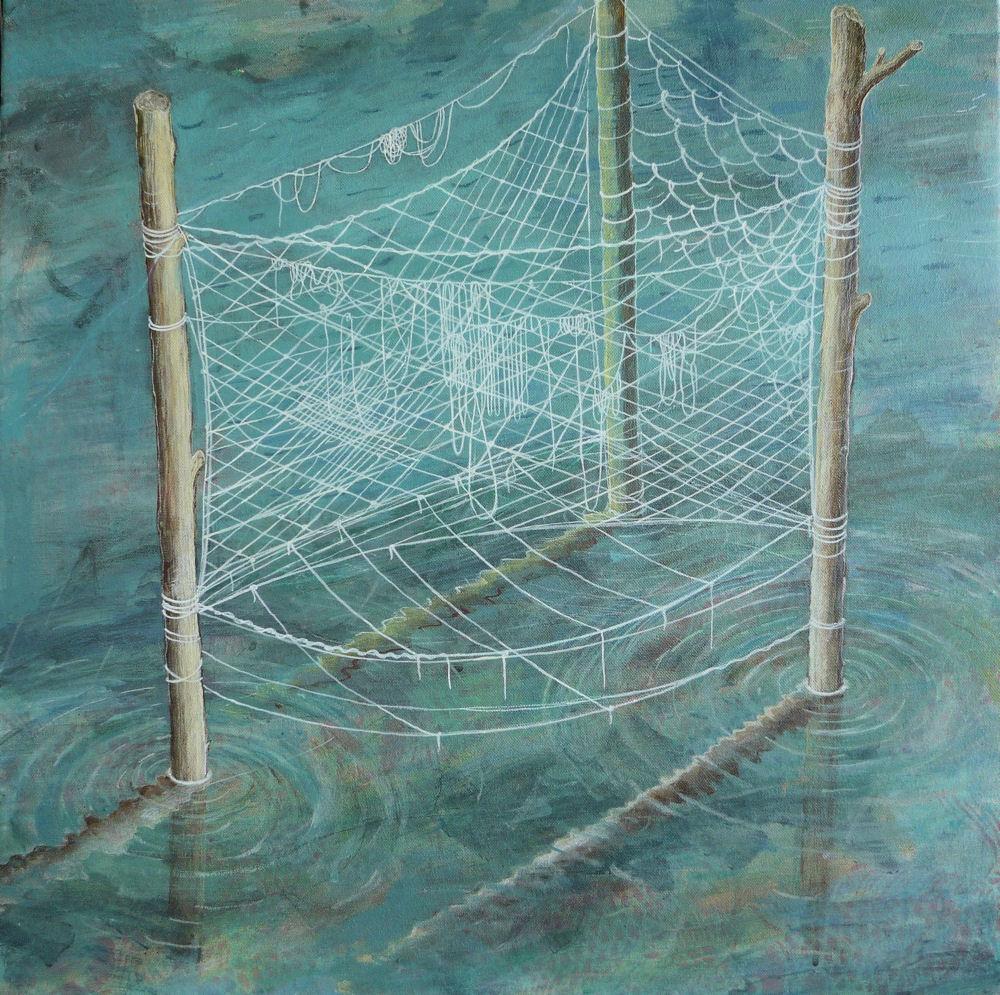 "Row Boat, 22"" x 22"", acrylic on canvas, 2010"