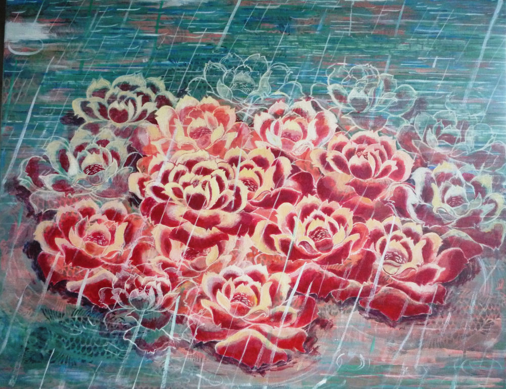 "Rain, Roses and Fish, 2"" x 28"", acrylic on canvas, 2010"