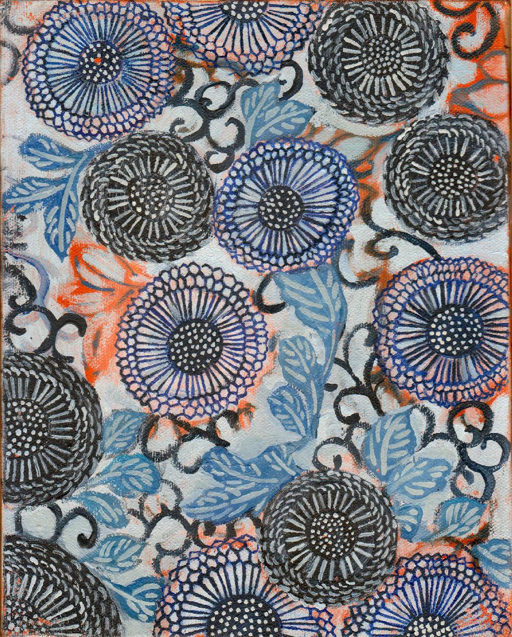"Chrysanthemum Pattern, 8"" x 10"", oil on canvas, 1994"