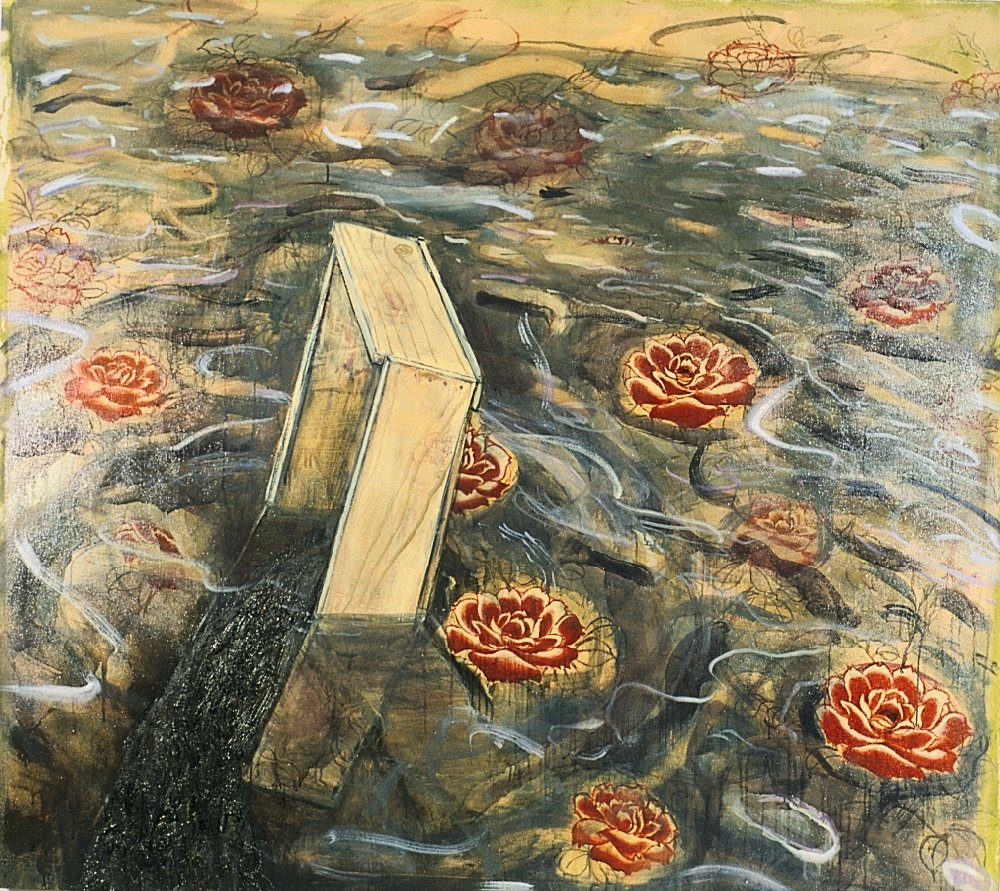 "Untitled, 65"" x 65"", oil and charcoal on canvas, 1995"