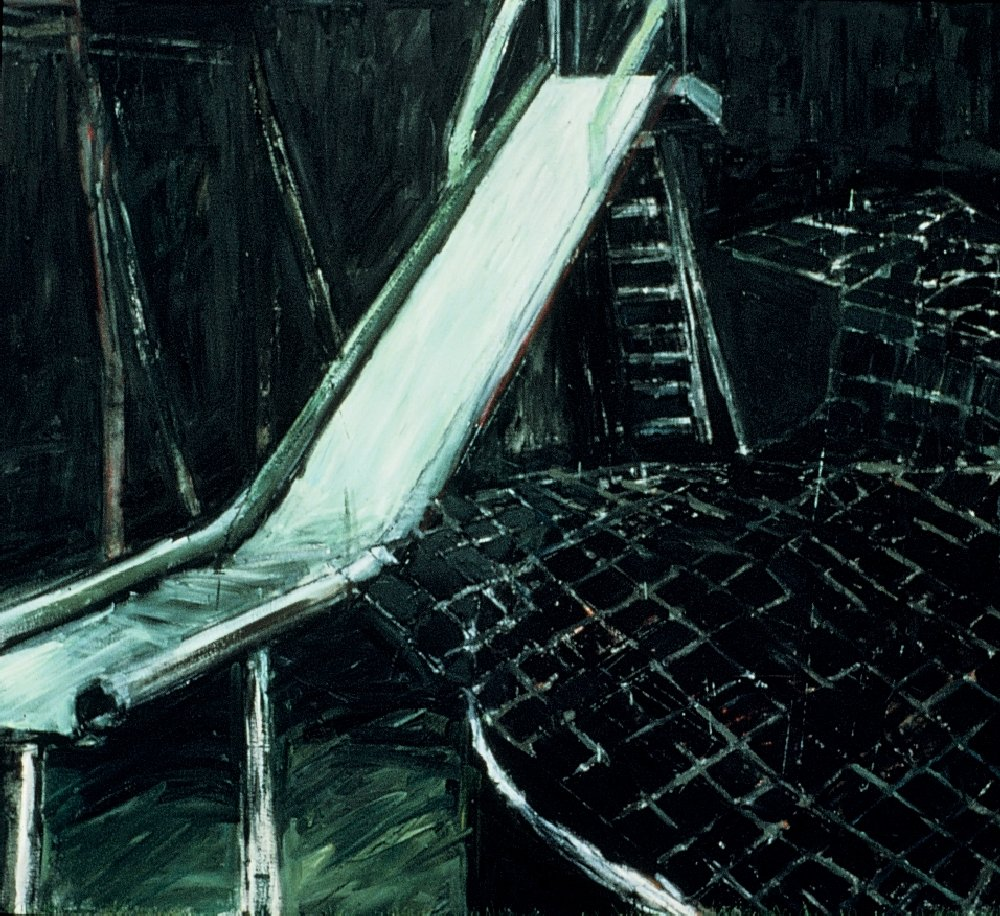 "Slide, 60"" x 72"", oil on canvas, 1987"