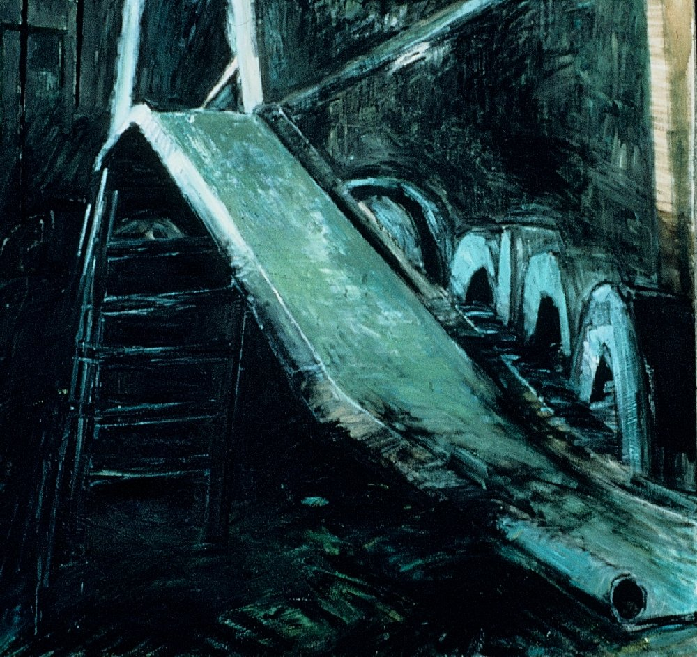 "Slide 2, 60"" x 72"", oil on canvas, 1987"
