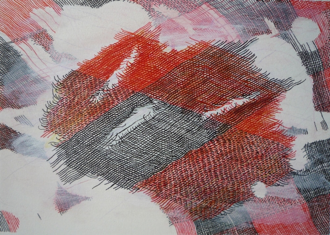 "Cuts 2, 7"" x 9"", ink and gouache on paper, 2010"