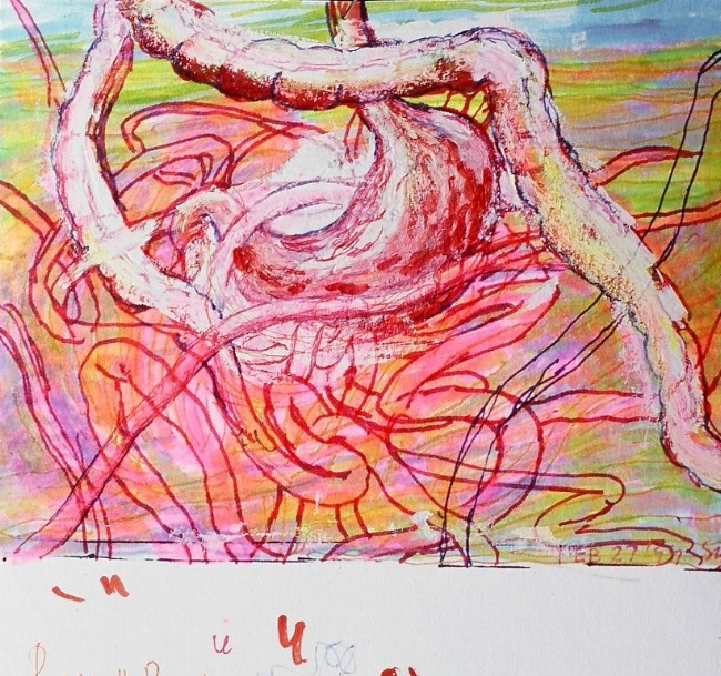 "Study, 5"" x 7"", mixed media on paper, 1997"