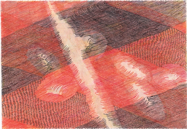 "Rent 2, 7"" x 9"", mixed media on paper, 2009-16"