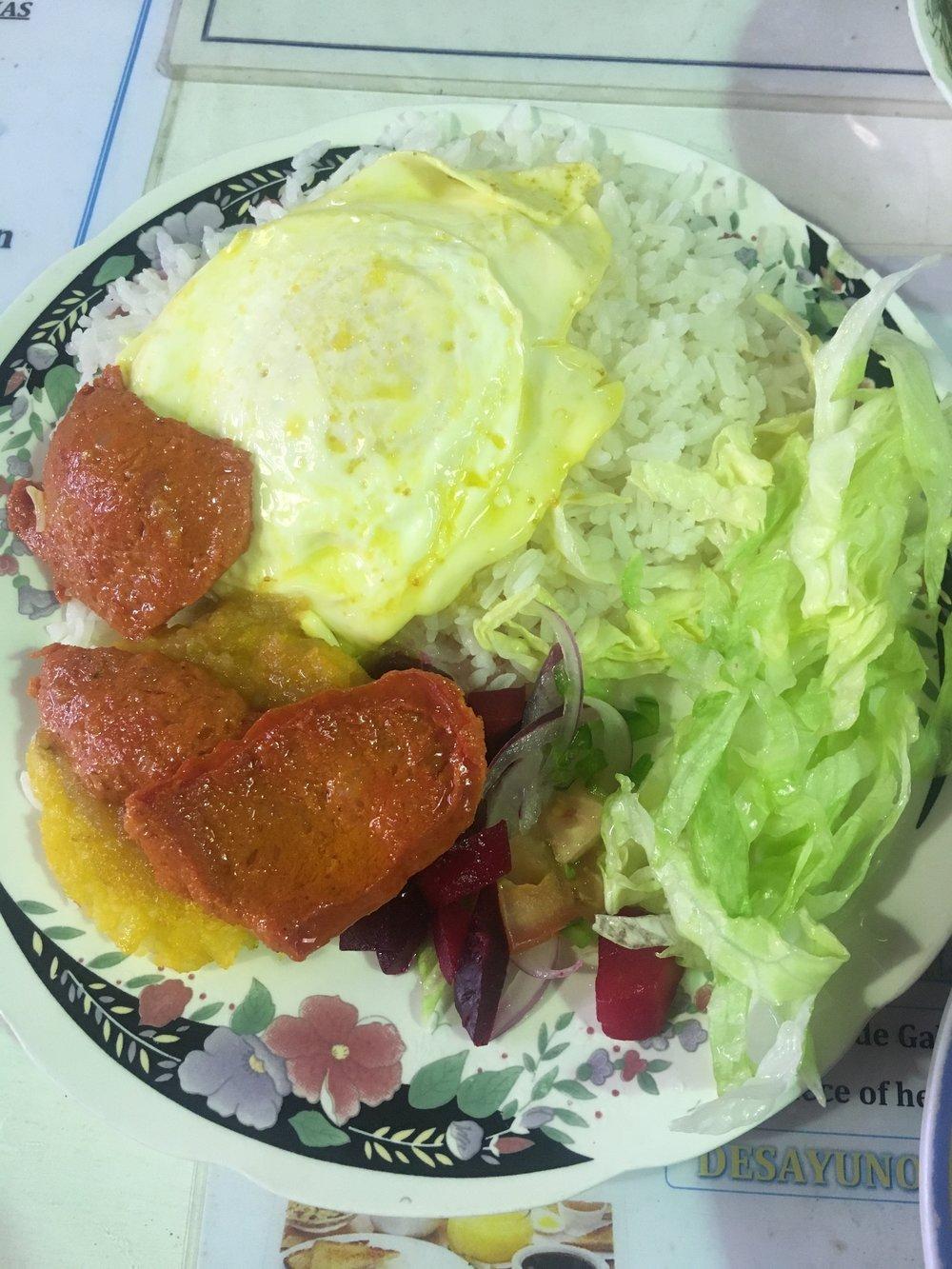 My lunch of Llapingachos.