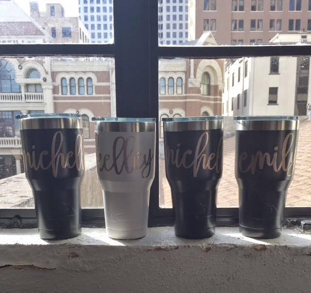 The view from our room of the old haunted Driskill Hotel. Decals on our bridesmaids cups made by my friend Brandee over at  My Southern Way .