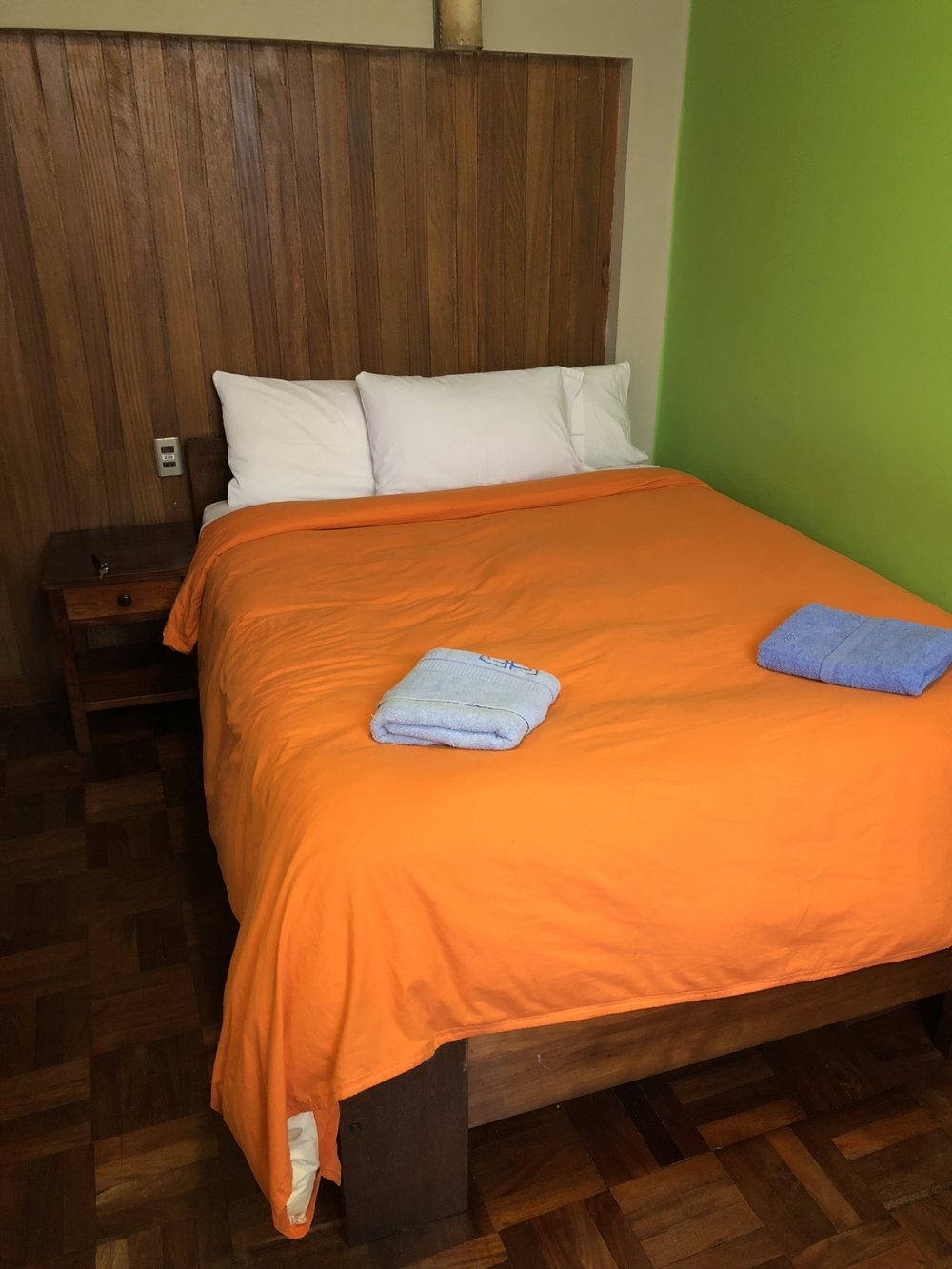 Our room is very cozy with a double bed, warm sheets, and our own ensuite bathroom.