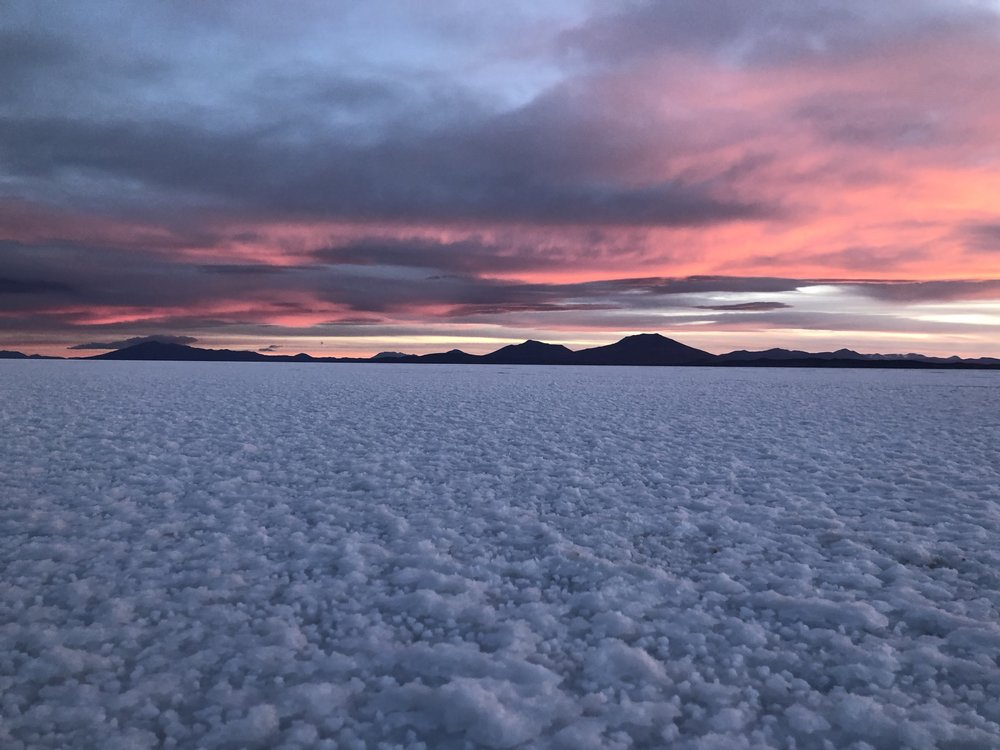 Watching the sunset over the Salt Flats was one of the highlights of the trip for me!