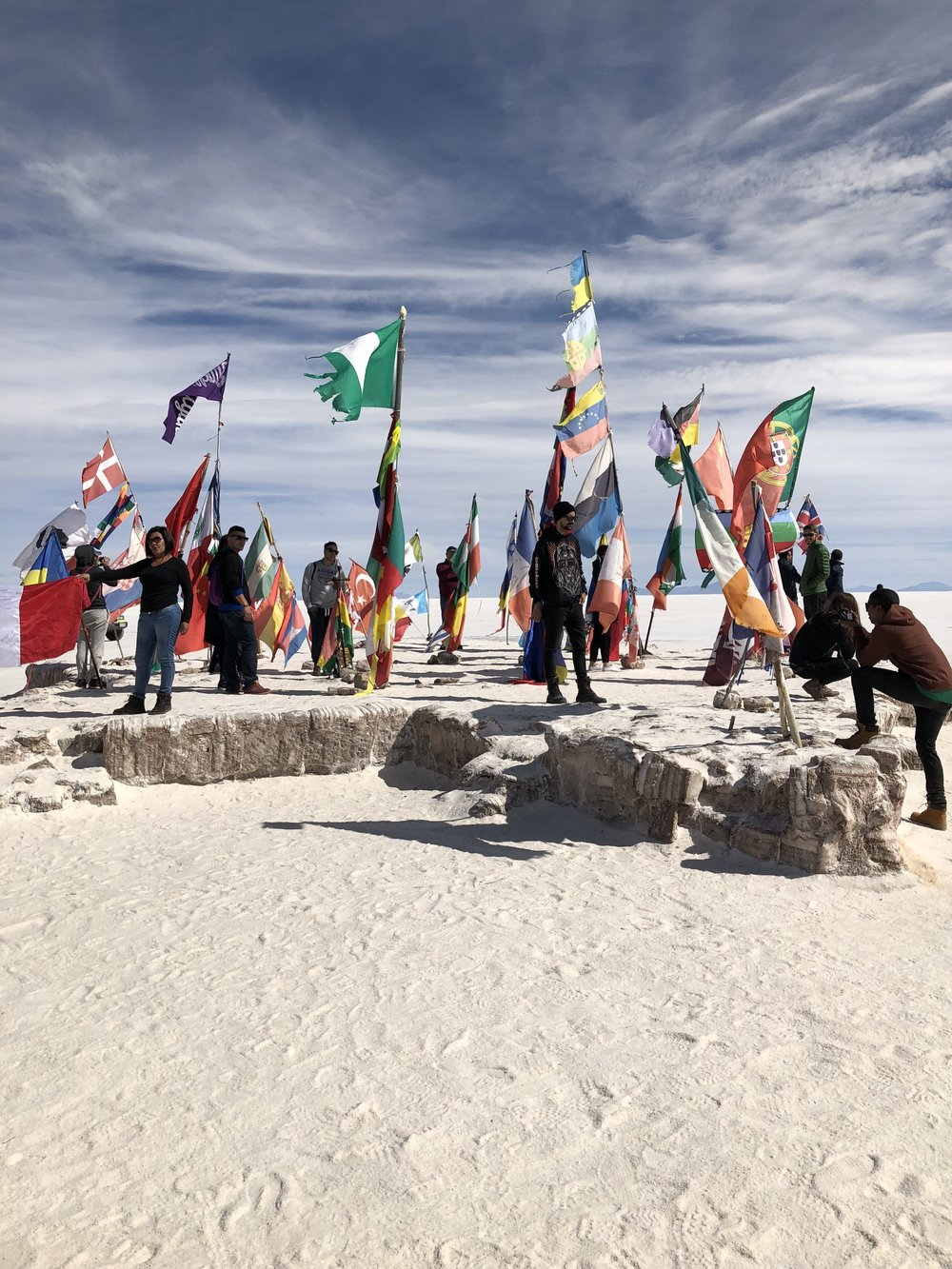 Flags placed outside of the first salt hotel.