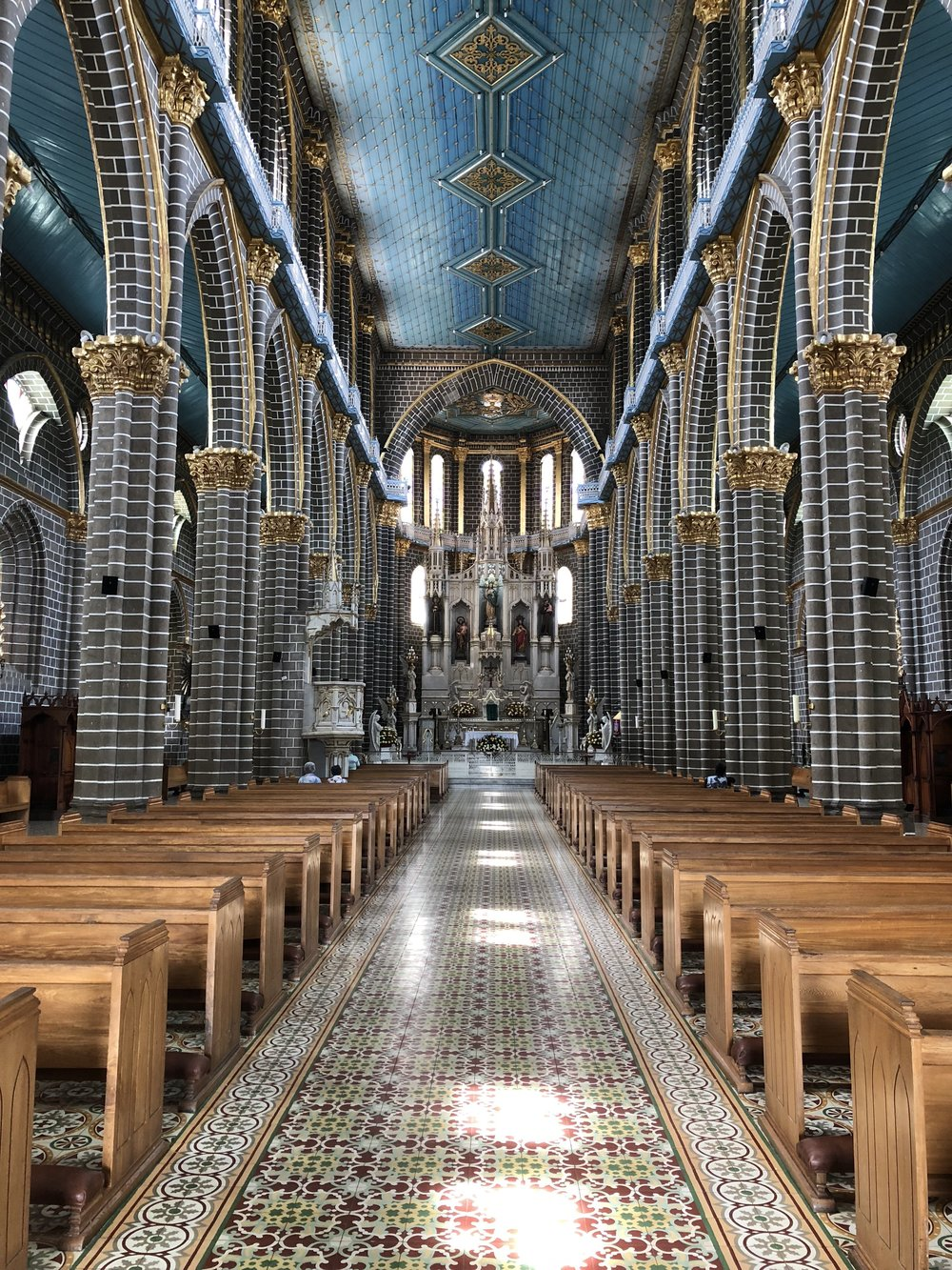 The inside of this beautiful church. I am obsessed with the clean white lines!