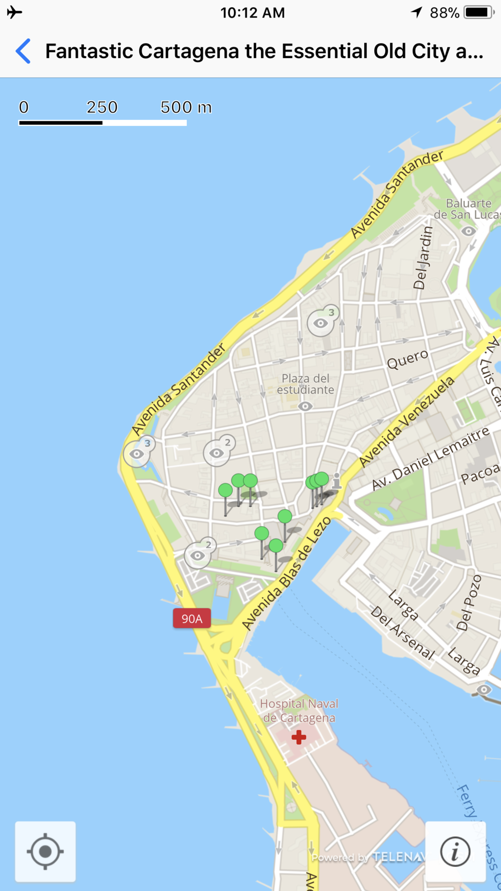 Here's the map of the travel article. Each green pin represents a place Michael and I walked to and learned more about using the  GPSmyCity  app.