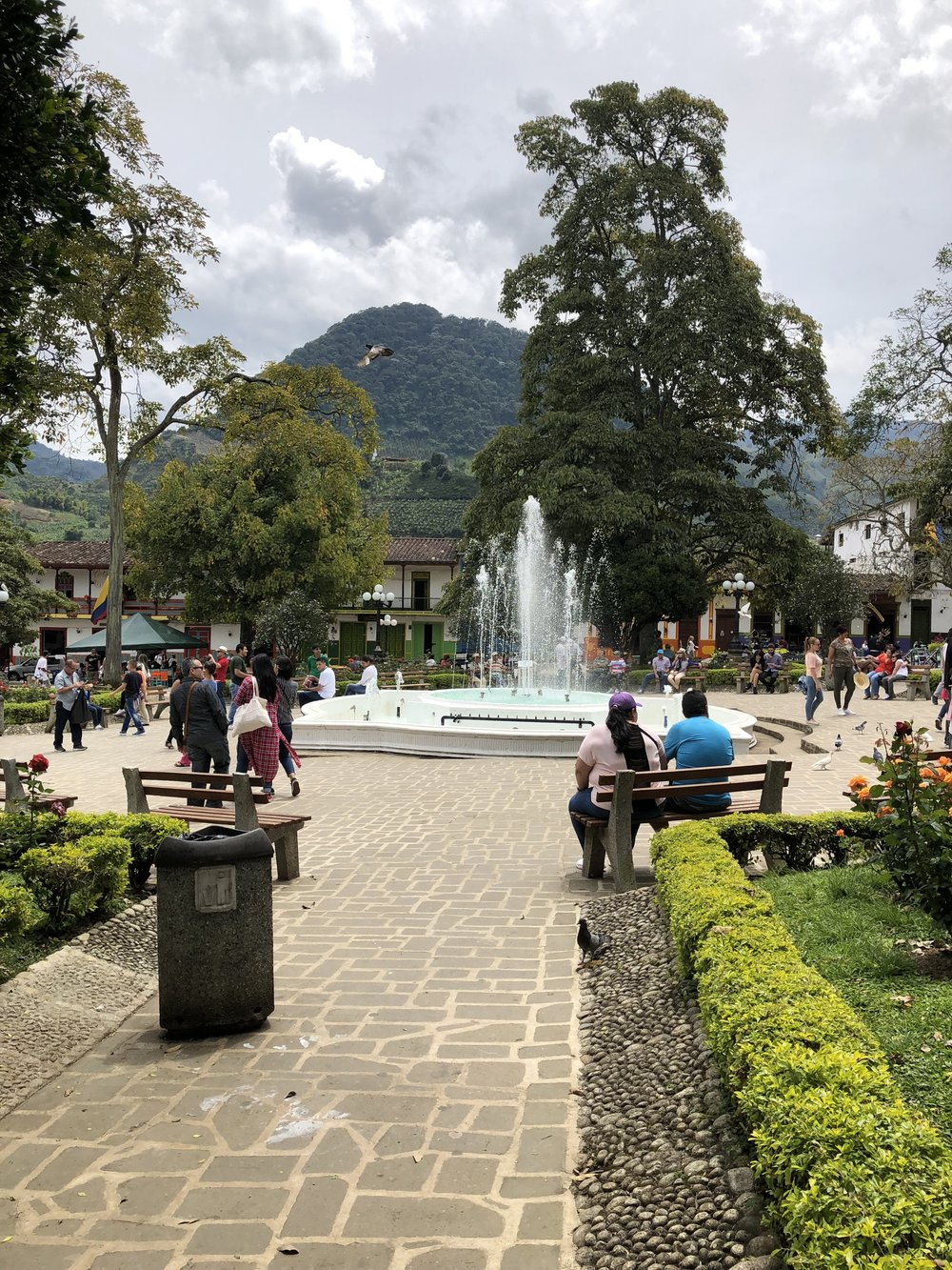 The town square in Jardin, Colombia. We spent most of our time here, watching and taking it all in.