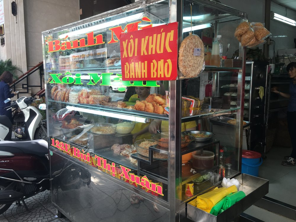 A Banh Mi cart in Vietnam, one of the tastiest sandwiches I've ever eaten.
