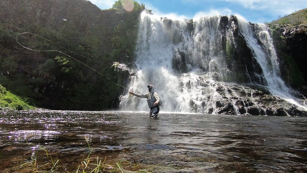 Fly Fishing Remote Patagonia Waterfalls
