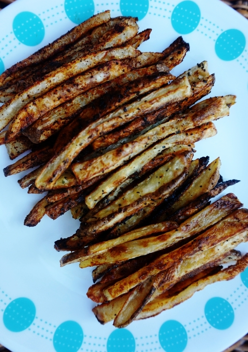 Crispy seasoned french fries, baked.