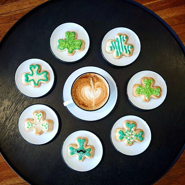 Happy Half-price Shamrock Cookie Day!! That's right, snag one of these super cool sweets for only a buck with your latte, today only!  #stpatricksday #shamrockcookies #gallatintn #espresso #latteart #sumnercountytn #locallove #specialtycoffee