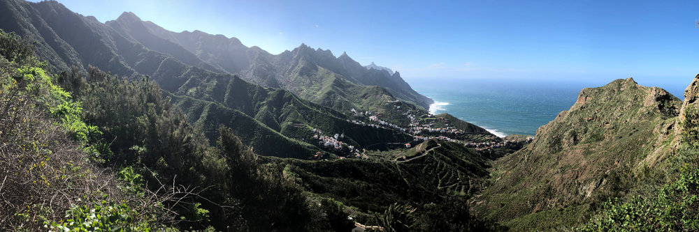Village of Taganana on the northeast point of Tenerife. The (advanced)launch of Taganana is located behind the further of the two ridges with buildings on the side.