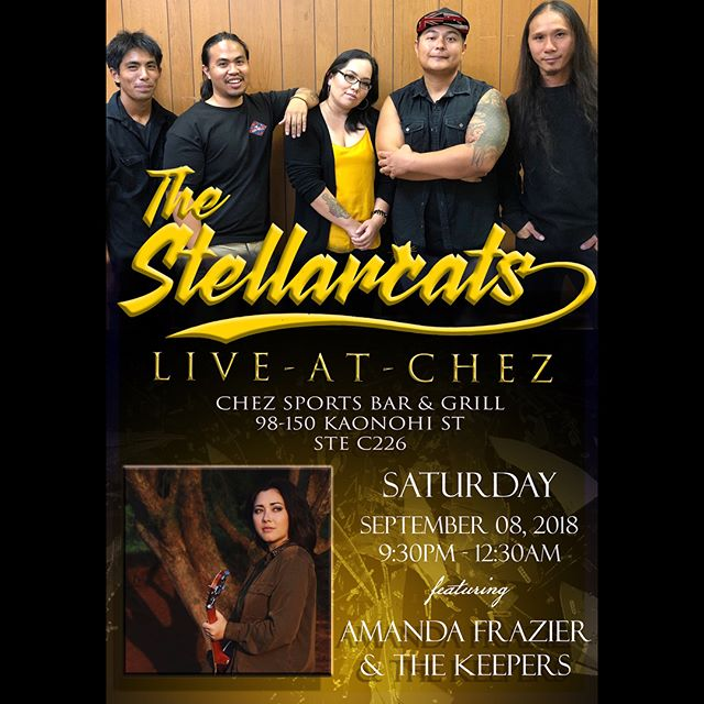 Join us Saturday September 8 at @chezsportsbarandgrill for stellar live music 🎶 great food and drinks 🍻Including music from local artist @amandafrazier Come and listen as we jam into the night! 9:30pm-12:30 _ _ _ _ _ _ _ _ _ _ _ _ _ _ _ _ _ _ _ _ _ _ _ _ _ _ _ _ _ _ _ _ _ _ _ _ _ _ #TheStellarcatsBand #livemusic #liveband #hawaiilife #Honolulu #hawaii #entertainment #hawaiimusic #popmusic #rocknroll #reggae #acoustic #food #drinks #musicislife #band #singer #singersongwriter #supportlocal
