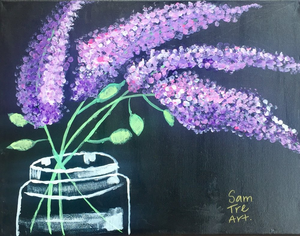 Here's a painting I did freehand with the help of some Q-tips to help create the dimension in the Lilacs. The painting is called   Jarred  .