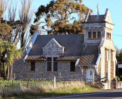 St Oswald's Church was built in 1927 from locally-sourced stone by Charles and Jessie Murray, in memory of their son, and later gifted to the Anglican diocese. This photo was taken before the earthquake.
