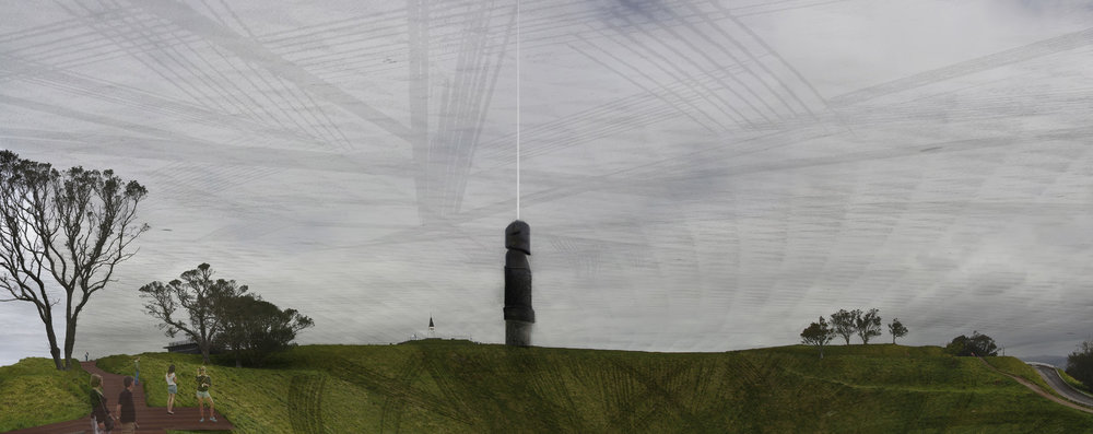 The pou on Maungawhau (Mt Eden) to be proportional to the obelisk on Maungakiekie (One Tree Hill) attempting to a bring balance to these maunga.