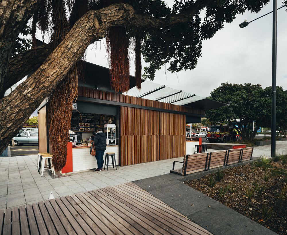 Designed by architect Alistair Luke, the kiosk won the NZIA Small Project Architecture award in the local Wellington awards.