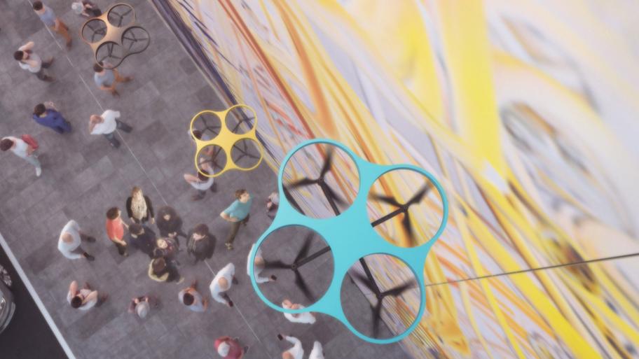 Carlo Ratti has developed a drone system to safely make multi storey graffiti artworks.