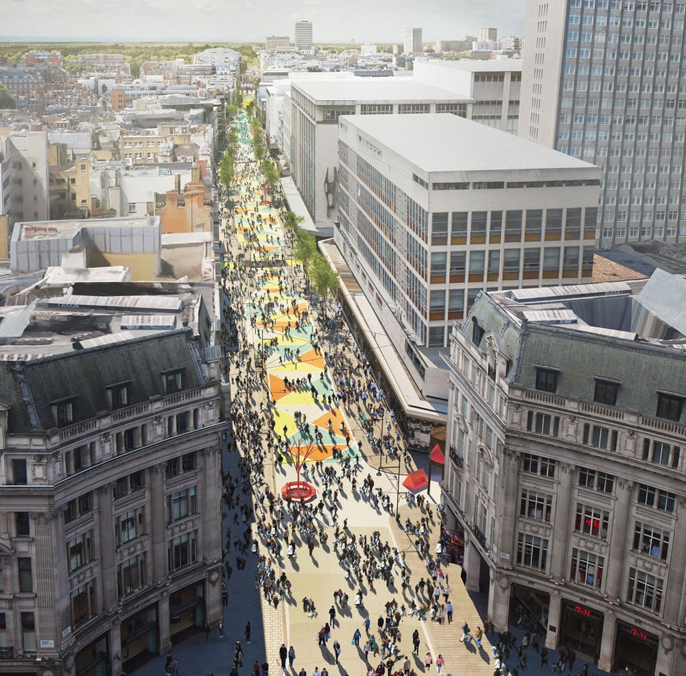 An image of the possible future for Oxford Street in London, this is not the final design.