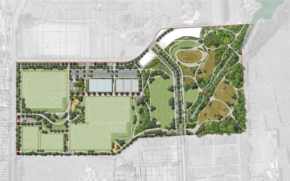 The master plan for Scott Point Sustainable Sports Park provides for sports and active recreation, informal recreation and conservation.