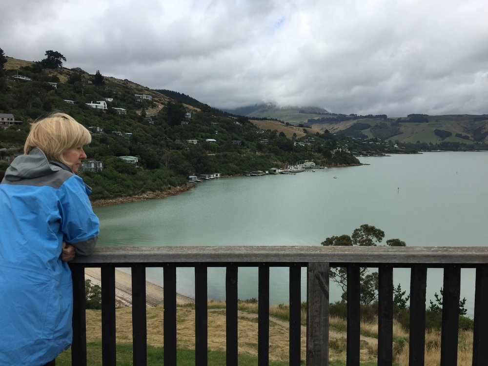 Gill Lawson looking across Charteris Bay towards Lyttelton.