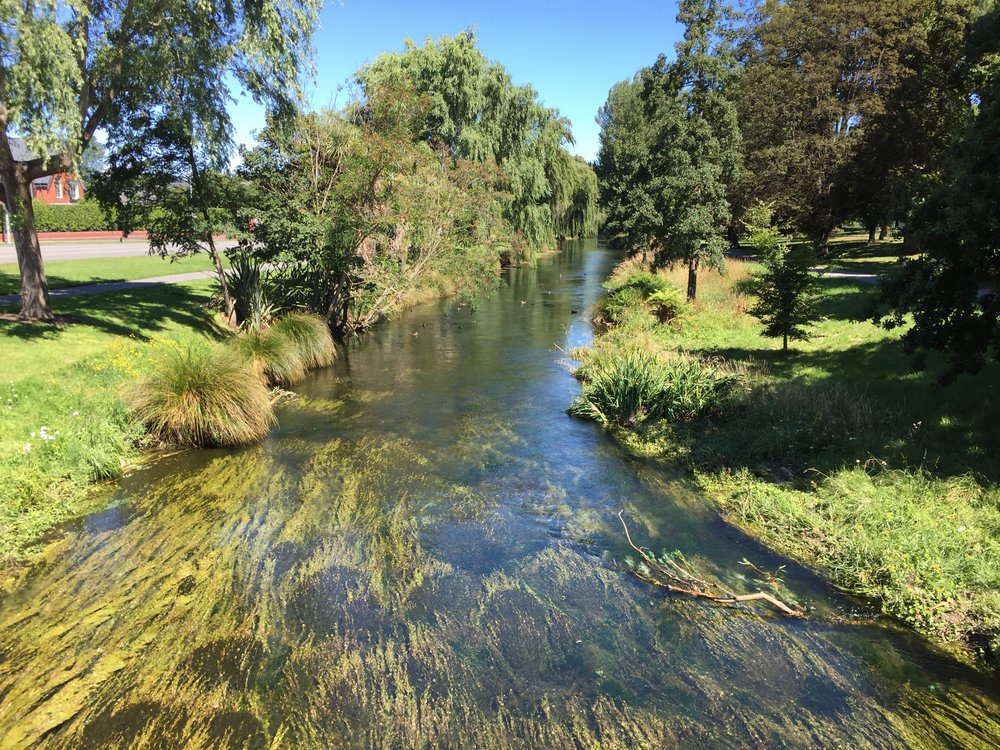 Gill Lawson says the apparently crystal clear conditions of waterways like the Avon River pictured here in Christchurch can mask the hazards of quality and liquefaction in New Zealand.