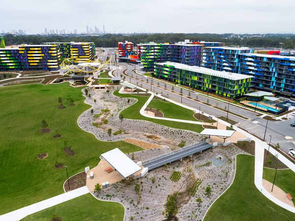 An aerial view of the Parklands project - courtesy of Grocon.
