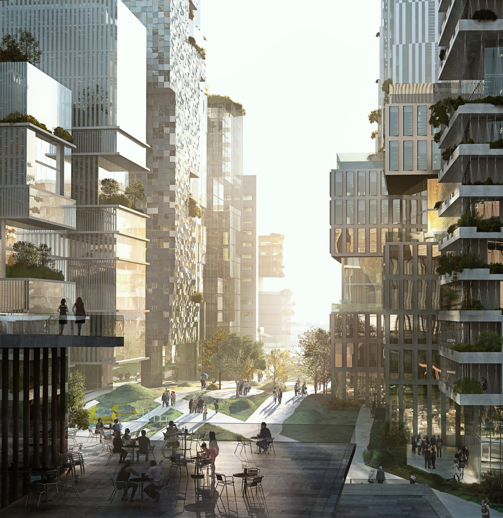 The greenery is designed to avoid the 'heat island' effect which often occurs in high density urban areas.