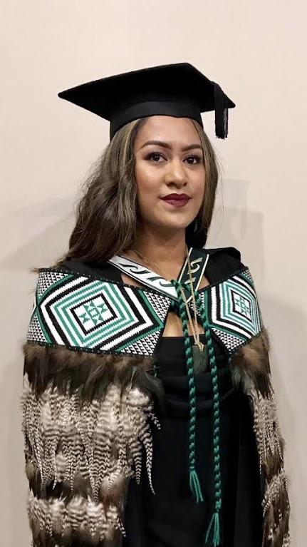 "Jackie wore her grandfather's korowai, ""Te Manawhakaora"" at her recent graduation."