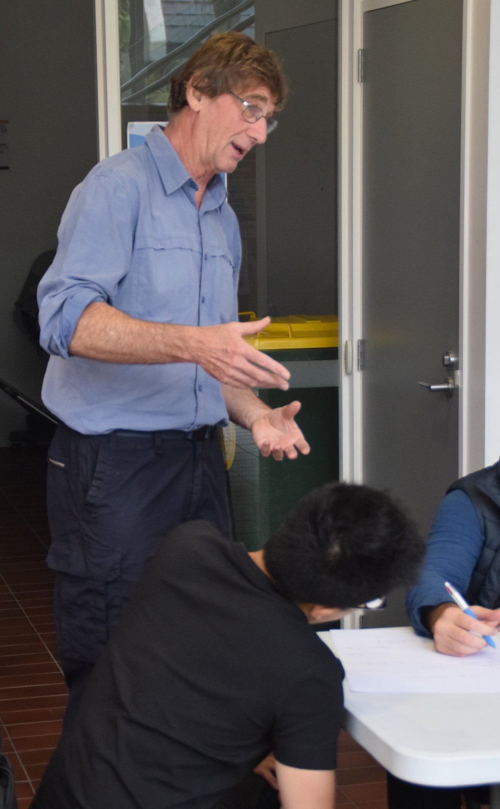 Professor Simon Swaffield with students.