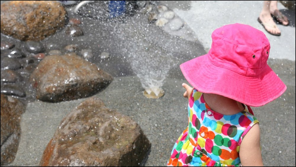 Young children enjoy the opportunity to interact with the water at their own pace.