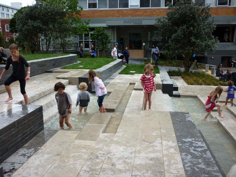 City spaces can offer water play too.