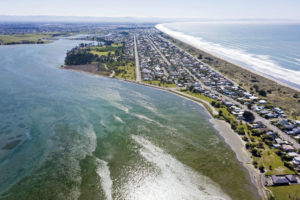 Southshore, Christchurch, looking north.  Photo credit: Sam Minnell Photography.