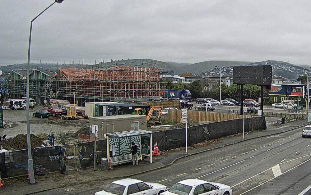 The rear of a free standing digital billboard in Christchurch.