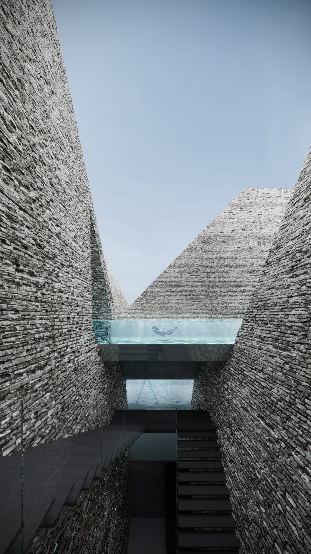 The design includes a landscape of brick pyramids.