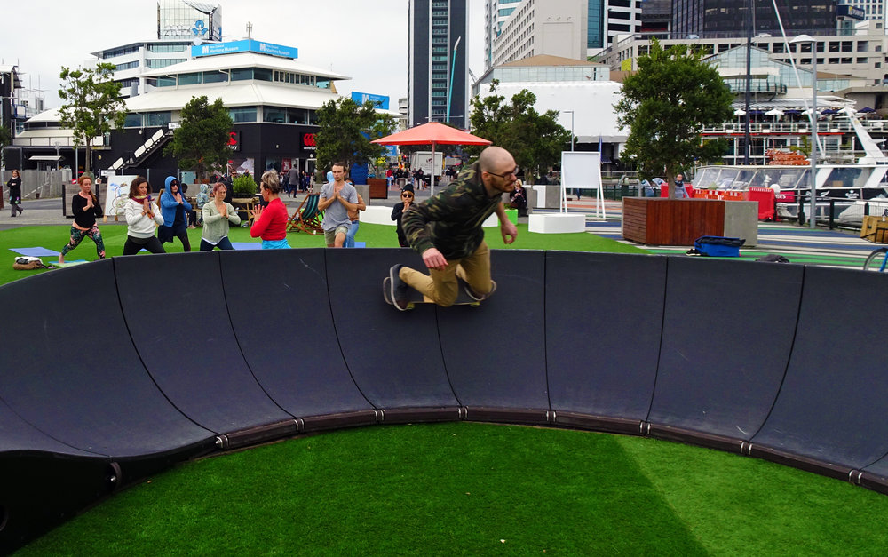 The Pump Track on Auckland's Eastern Viaduct has quickly become a lunchtime destination for local office workers.