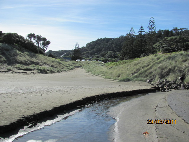 Muriwai Beach after the managed retreat.