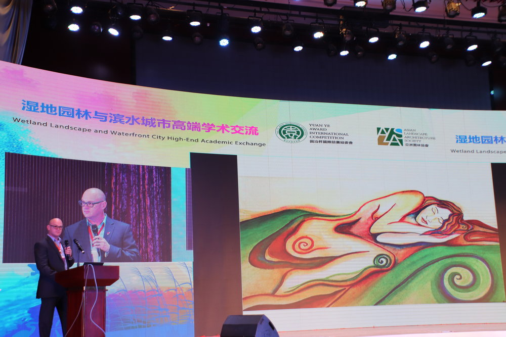 NZILA President Brad Coombs presenting his paper at Hengshui Wetland Landscape and Waterfront City High End Academic Exchange.
