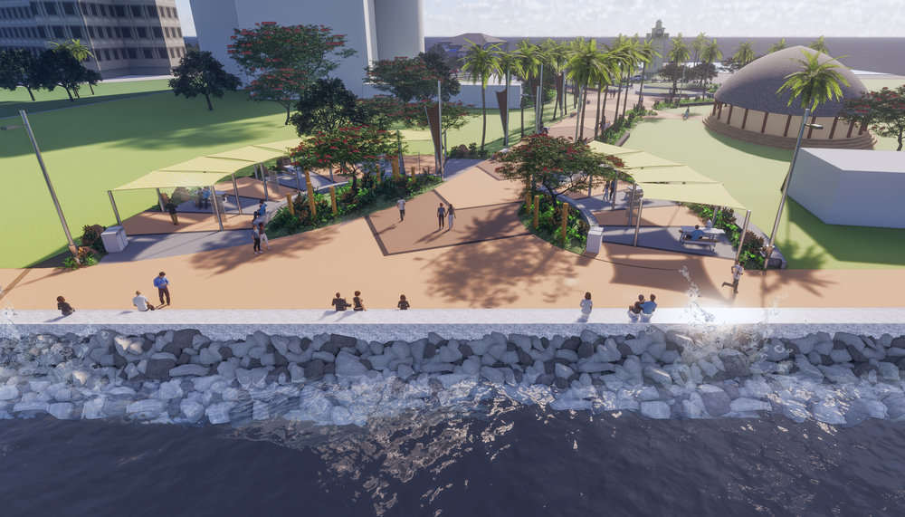 Render of the planned Coastal Edge and Clock Tower Boulevard.