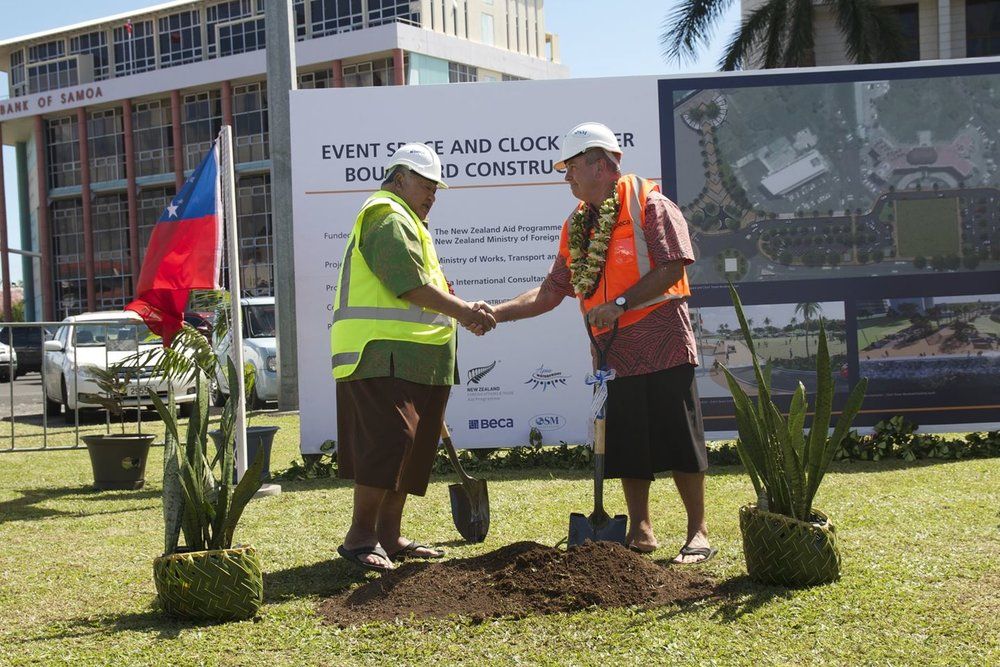 Samoan Prime Minister Tuilaepa Aiono Sailele Malielegaoi and Former NZ High Commissioner David Nicholson at the Ground-breaking Ceremony in Apia.