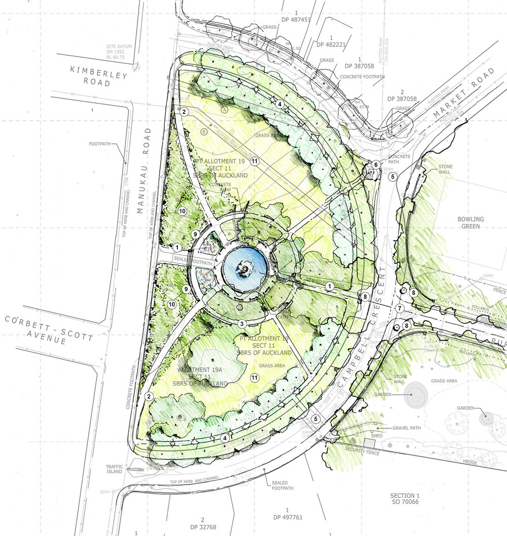 The John Logan Campbell fountain is the blue circle in the middle of the Campbell Crescent plan.